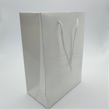 Logo Custom Elegant Gift Packing White Paper Bags
