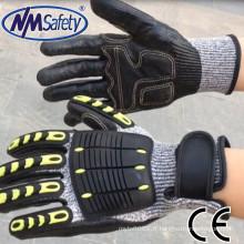 NMSAFETY13g résistant aux coupures nitrile impact gants à haute impact gants de protection tpr impact gant