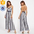 Preto e Branco Backless Cruzado Detalhe Tie Jumpsuit Listrado OEM / ODM Fabricação Atacado Moda Feminina Vestuário (TA7016J)