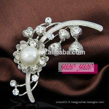 Broche en perle de fleur de mariage avec cristal en strass