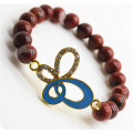Rouge jaspe 8MM perles rondes Stretch Gemstone Bracelet avec Diamante alliage butterflyPiece