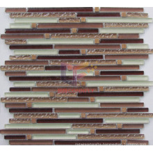 Rippling Surface Brown Strip Glass Mosaic (CFS607)