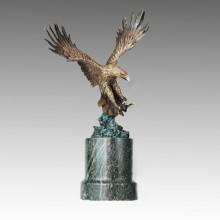 Escultura de bronce de los animales Eagle tallando la estatua de cobre amarillo de Deco Tpal-263