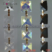 Crystal Square Beaded Chains Connected With Bowtie