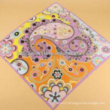 Lenço de seda cachecol de seda floral e paisley