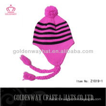 lovely pink knitted hats novelty knitted hat pom knitting crochet professional facotry for sale