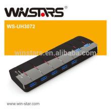 7 portas USB 3.0 HUB com adaptador de energia, hub usb 3.0 de 5Gbps, Fusão Plug-n-Play, CE, FCC