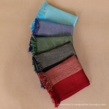 Vente chaude 26 couleurs fil d'or shimmer coton écharpe Malaisie wmen hijab