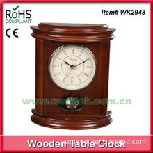 Wood analog quartz decorated table desk clock