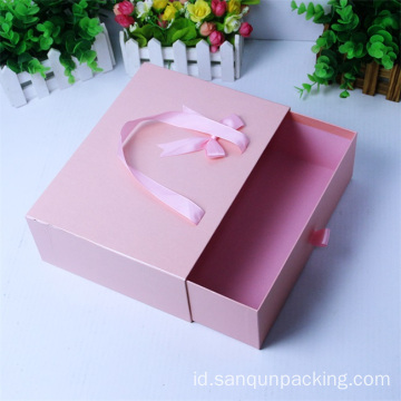 Rectangle pink drawer kardus kemasan kotak hadiah kertas