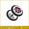316L Surgical Steel Logo Epoxy Gem Rimmed Fake Plug Earrings