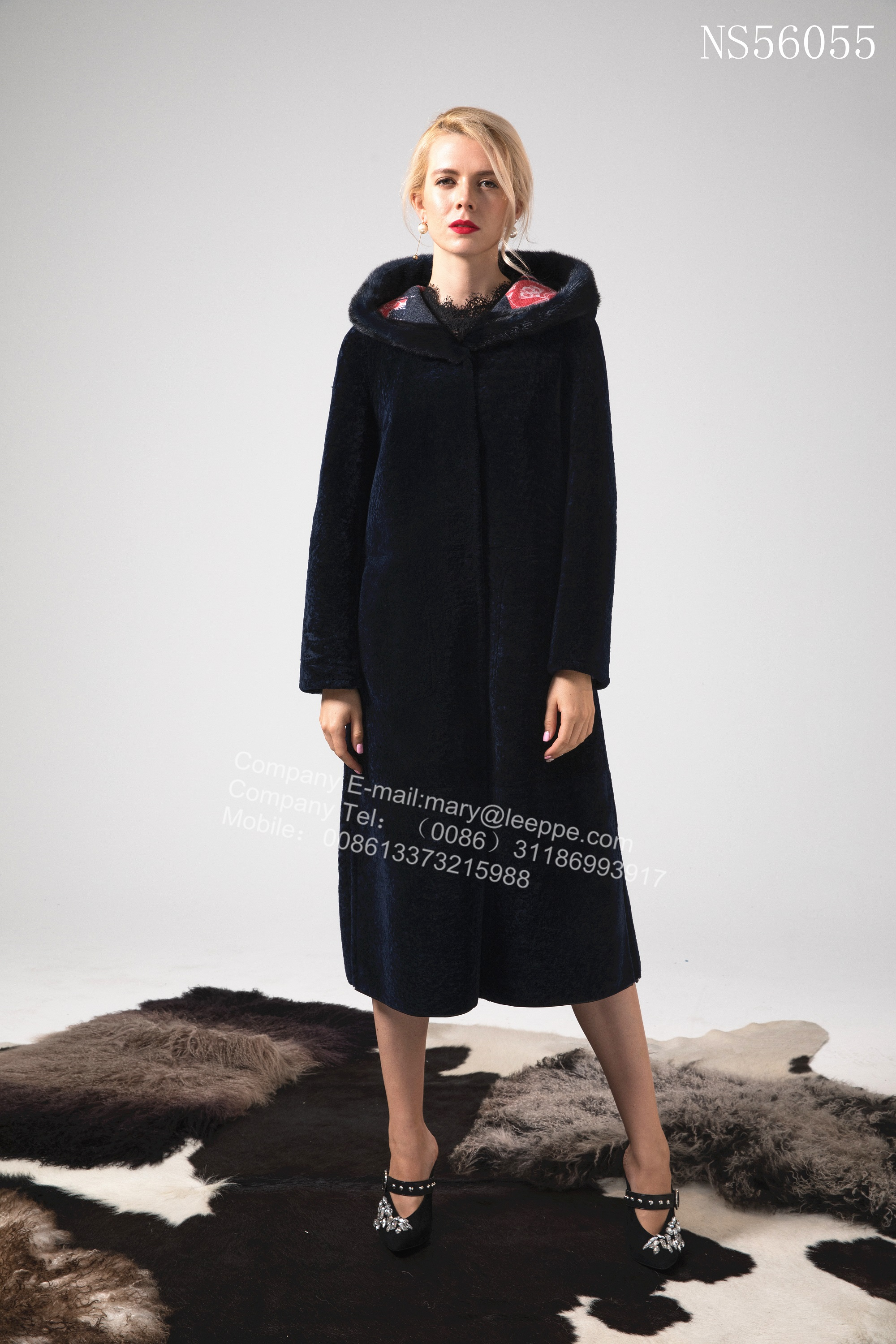 Reversible Long Women Merino Shearling Coat