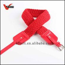 Red Webbing Women's Waist Braided Belt