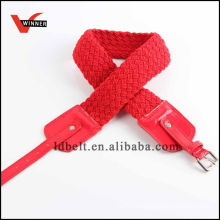 Красная полосатая пояса для женщин с плетеным поясом