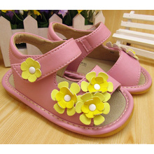 Yellow Flower Baby Girl Squeaky Sandals