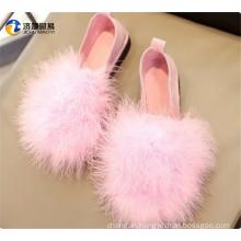 Ostrich hair women shoes Cheap wholesale ladies shoes