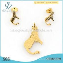 Bela nova em aço inoxidável banhado a ouro conjunto de jóias por atacado