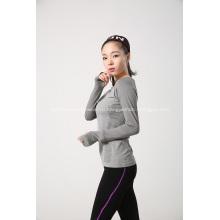 Бесшовные женские трикотажные длинный рукав для спорта поезд