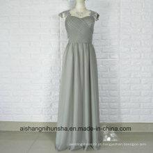 Apliques de Renda Frisada Cap Mangas Chiffon Vestido Longo Vestidos dama de honra