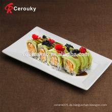 Kundenspezifische Porzellan Keramik weiß rechteckige Platte