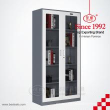 Steel office furniture swing 2 glass door file cabinet glass display cabinet