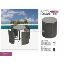 TF-9574 новый дизайн компактного патио ротанга Открытый плетеная высокий бар стул и стол круглый бар