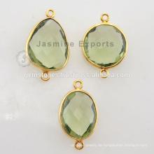 925 Sterling Silber Vermeil Gold überzogene grüne Amethyst-Lünette Einstellung Steckverbinder