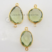 925 Sterling Silver Vermeil Gold Plated Green Amethyst Bezel Set Conectores