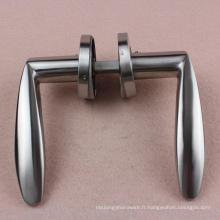 Le fabricant de poignée de porte de Guangzhou fournit la poignée de porte en acier inoxydable sur le matériel de montage de Rose