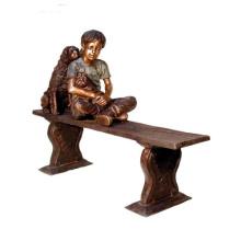 fonderie de bronze fonderie métal artisanat bronze garçon avec chien statue