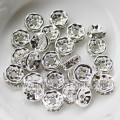 3.5*8 MM Crystal Rhinestone Pave Silver Rondelle Spacer Metal Beads