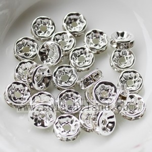3.5 * 8 MM Crystal Strass ebnen Silber Rondelle Spacer Metallperlen