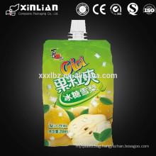 Ziplock reusable plastic beverage spout pouch/juice drink bag/liquid soap bag/detergents bag