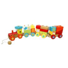Деревянные блоки поезд игрушка с 4 каретки для малышей