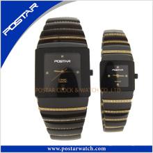 Reloj de cerámica de los pares del OEM con el ajuste de las piedras