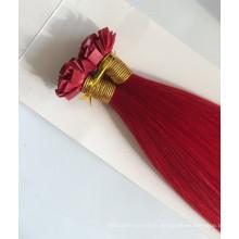les cheveux brésiliens de la pointe 8A de pointe plate rouge ont lié les cheveux plats de bout de cheveux vierges en ventes