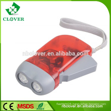Energy saving ABS material 2 led hand crank dynamo flashlight