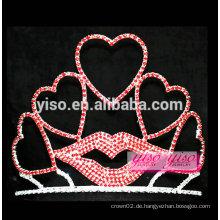 Benutzerdefinierte gestapelte schatz rote lippe kristall valentinstag tiara