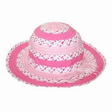 Girl's hat, made of polyester and paper straw