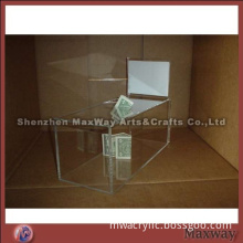 Tank Water Clear Acrylic Ballot/Donation Case with Sign Holder