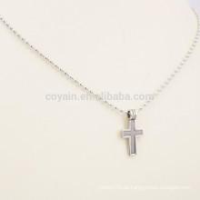 Zwei Tone Edelstahl Trendy Multi Strand Kreuz Halskette mit Kugelkette