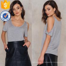 Loose Fit Cold-épaule manches courtes gris Summer Top fabrication en gros de mode femmes vêtements (TA0080T)