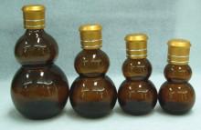 Calabash Amber Essential Oil Glass Bottle with Golden Rose Cap Ldj-105