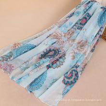 Venda quente mulheres de algodão voile lenço lenço longo padrão geométrico e flor lenço de impressão digital
