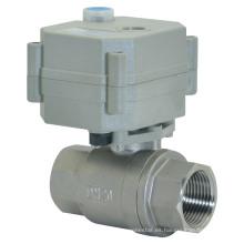 Válvula de bola del agua del acero inoxidable del flujo eléctrico de 2 maneras con la operación manual (T20-S2-B)