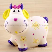 Custom High Quality Soft Plastic Cute Cow Saving Money Box