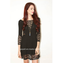Mulheres Moda Ladies Hight cintura 3/4 Sleeve Sexy Lace Dress