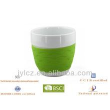 Tasse de cadeau de café de forme de ventre de 220cc avec la bande de silicone, taille moyenne, ensemble de 4 dans le PVC