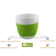 220cc belly shape coffee gift mug with silicone band, medial size,set of 4 in PVC