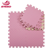 2021 Comfortable floor solid color sheet polka dot pattern foam interlocking EVA floor play mat